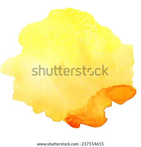 Watercolor stain on white background, abstract blot isolated.