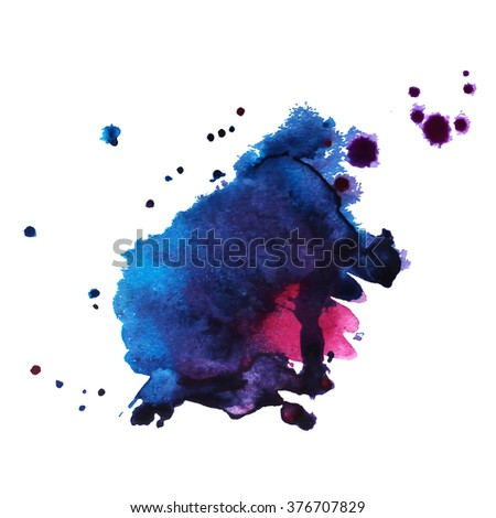 watercolor stain smear with splashes purple dark blue color. Banner for text. Vector illustration - stock vector