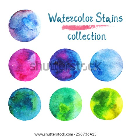 Watercolor stains collection Hand drawn abstract paint color vector illustration - stock vector