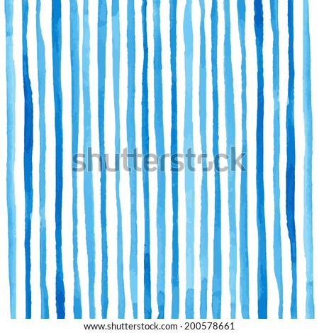 Watercolor stripes pattern. Drawing by hand. Vector illustration - stock vector