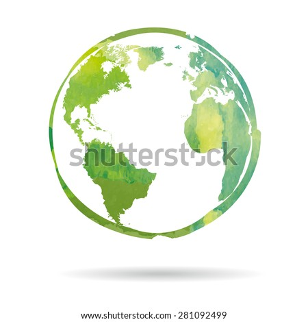 Watercolor style Earth icon isolated on white background - stock vector