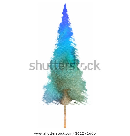Watercolor-style isolated vector illustration of Christmas/New Year Tree. - stock vector