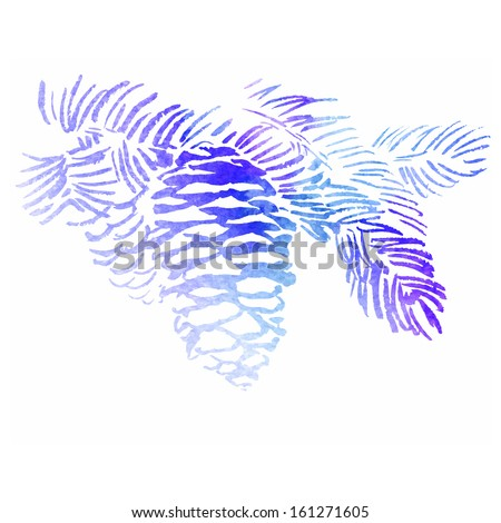 Watercolor-style pine cone vector illustration. - stock vector