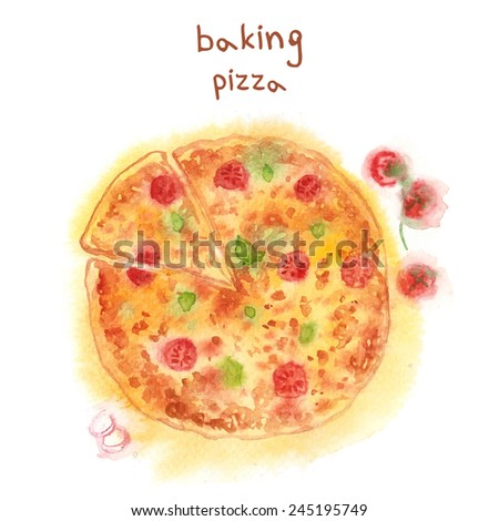 Watercolor-style vector  hand drawn Pizza. - stock vector