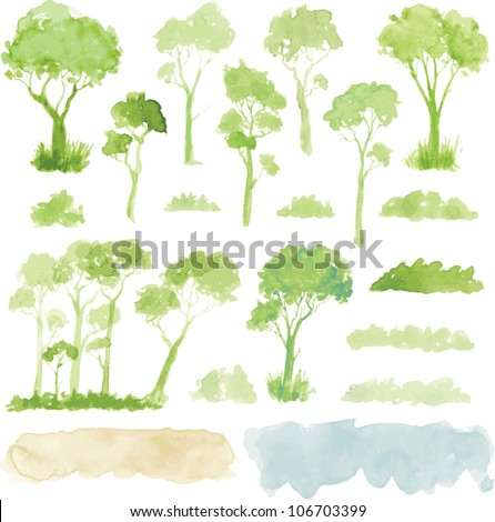 Watercolor style vector illustration of a collection of trees, shrubs, and grasses, isolated on white. - stock vector