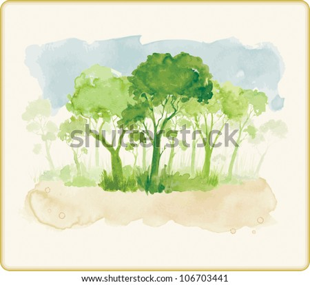 Watercolor style vector illustration of a leafy green forest in summer.
