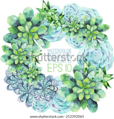 Watercolor succulent wreath. Round frame for text. Vector template - stock vector