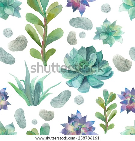 Watercolor succulents pattern. Seamless texture with objects: plants, succulent, stones. Hand painted vintage gardening background. Vector floral background. - stock vector