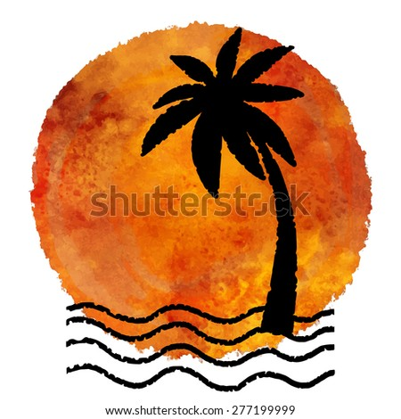 Watercolor summer beach print. Tea, coffee color circle pant stain, palm tree black silhouette, waves, water, sea isolated on white background