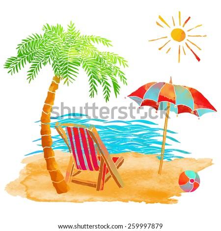 Watercolor summer beach set. Waves, sea, palm tree, sun, sun umbrella, ball, deck chair, sand isolated on white background  - stock vector