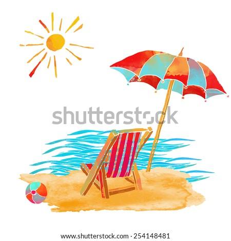 Watercolor summer beach set.  Waves, sea,  sun, sun umbrella, ball, deck chair, sand isolated on white background  - stock vector