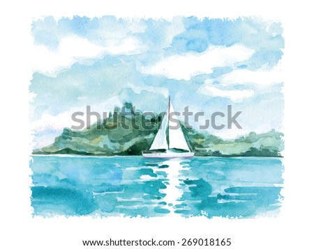 Watercolor summer landscape with the sea and sailing. Vector illustration   - stock vector