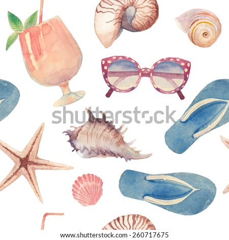 Watercolor summer vacation retro pattern. Vintage hand drawn seamless texture with beach objects: sunglasses, cocktail, sea shells, sea star, flip flops. White background - stock vector