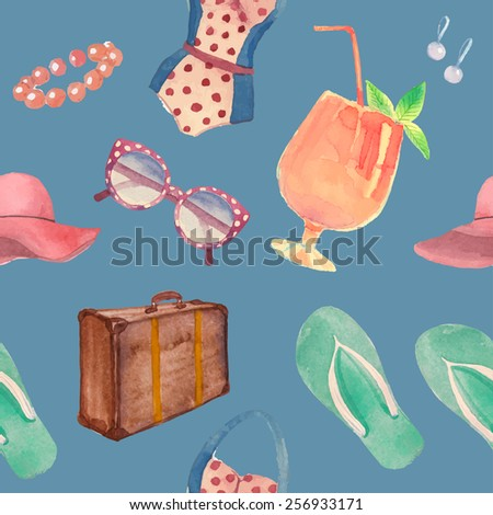 Watercolor summer vacation retro pattern. Vintage hand drawn seamless texture with tropical travel objects: sunglasses, cocktail, hat, Luggage, flip flops, swimsuit, earrings - stock vector