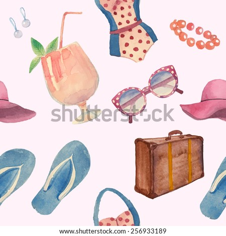 Watercolor summer vacation retro pattern. Vintage hand drawn seamless texture with tropical travel objects: sunglasses, cocktail, hat, Luggage, flip flops, swimsuit, earrings. White background - stock vector