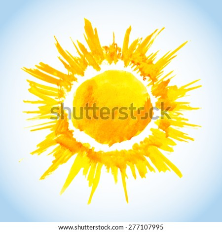 watercolor sun drawing on blue sky background - stock vector