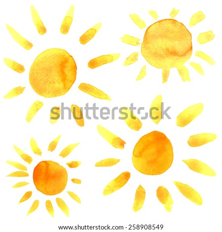 Watercolor sun icons set closeup isolated on white background. Hand painting on paper - stock vector