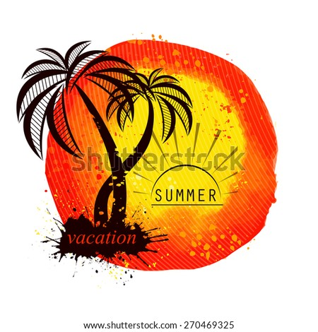 Watercolor sun with palm tree. Vector