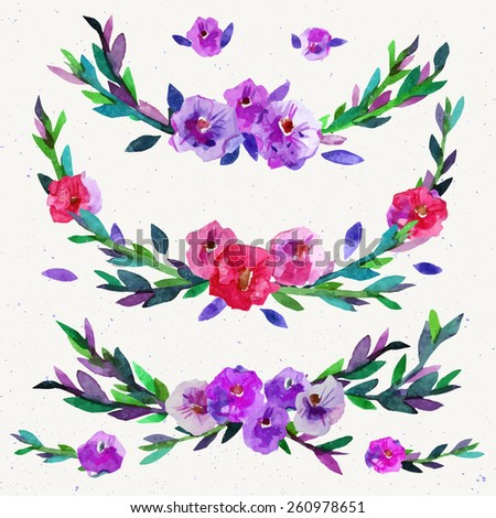 Watercolor symmetrical floral elements. Watercolor vector hand paint wreath. Vector illustration. Hand drawn vintage illustration. Spring or summer design for invitation, wedding or greeting cards - stock vector