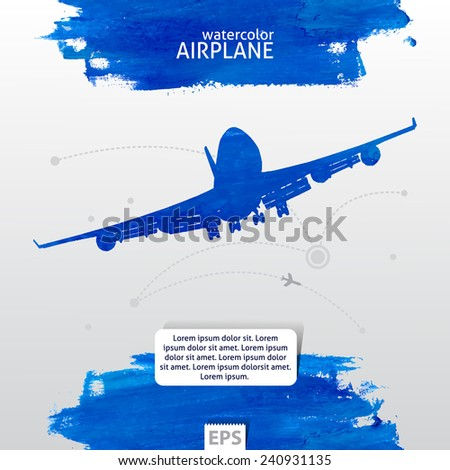 Watercolor template with airplane and destination way with cities - stock vector