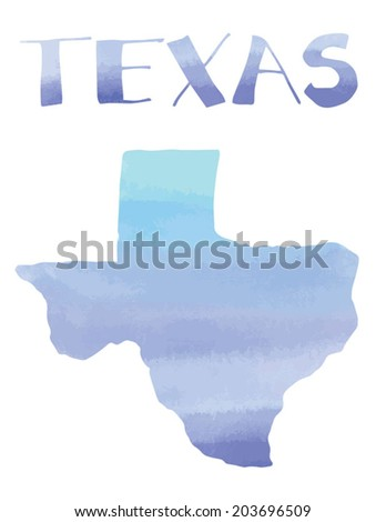 Watercolor Texas State With Hand Drawn Texas