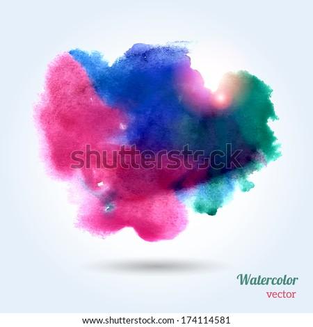 Watercolor texture. Vector illustration. Multicolor grunge paper template. Wet paper. Blobs, stain, paints blot. Composition for scrapbook elements. Brush strokes. - stock vector