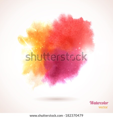 Watercolor texture. Vector illustration. Multicolor grunge paper template. Wet paper. Blobs, stain, paints blot. Composition for scrapbook elements. Brush strokes. - stock vector