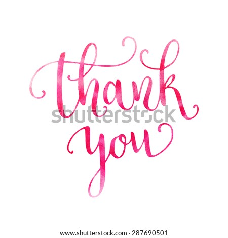 Watercolor thank you hand lettering. Template for design. Vector illustration - stock vector