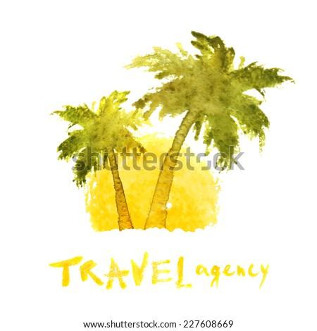 watercolor travel agency logo template - stock vector