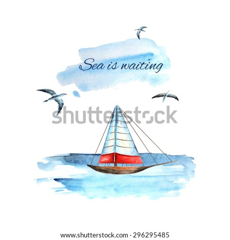Watercolor travel, tourist card, brochure with sea, seagulls and ship - stock vector