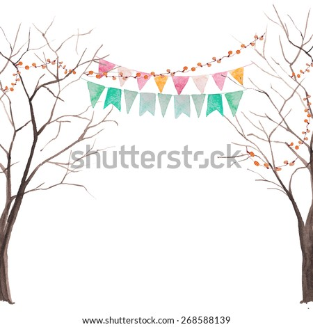 Watercolor tree party card. Tree without leaves silhouettes with light and flags garlands. Rustic vector background - stock vector