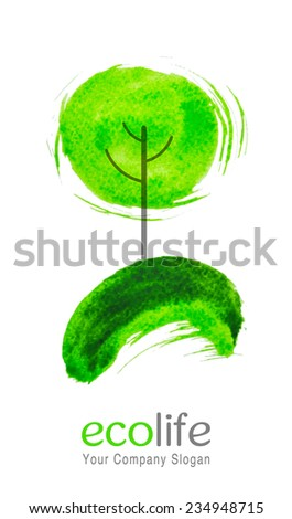 Watercolor tree, symbolizing the preservation of the environment - stock vector