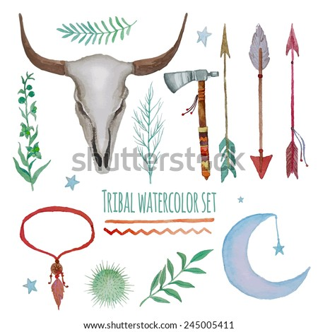 Watercolor tribal set. Collection of vintage hand drawn design elements: tepee, axe, feathers necklace, herbs, plants, indian arrows and buffalo scull. Vector illustration - stock vector