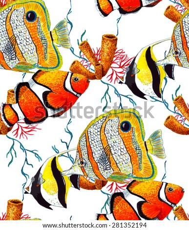 Watercolor Tropical Fish Coral Seamless Pattern On White Background Texture Cloth