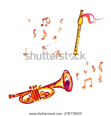 watercolor trumpet and flute, with musical notes - stock vector