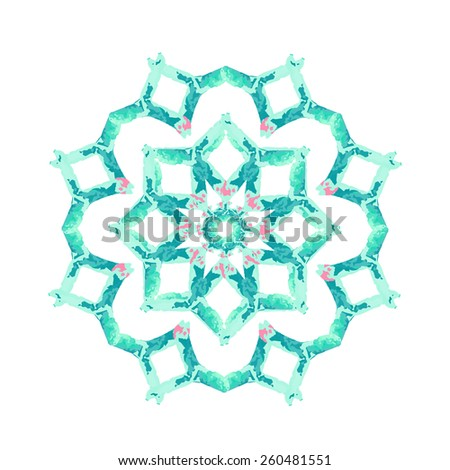 Watercolor Turquoise flower mandala. Lace circular ornament on white background.  Oriental Geometric circle element. Vector illustration.  - stock vector