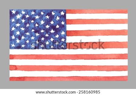Watercolor USA Flag. Vector EPS 10 - stock vector