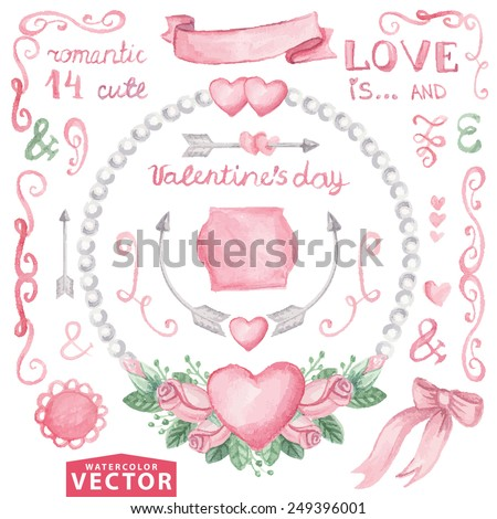 Watercolor Valentine's day ,wedding set.Floral group of pink roses buds.Cute vintage elements,swirls,wreaths,hearts,arrow,text,pearls.Hand drawing painting.Vector for invitation,card,template. - stock vector