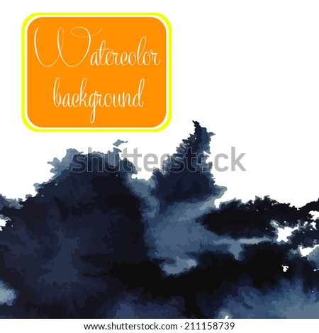 Watercolor vector background. Hand drawing with colored spots and blotches. - stock vector