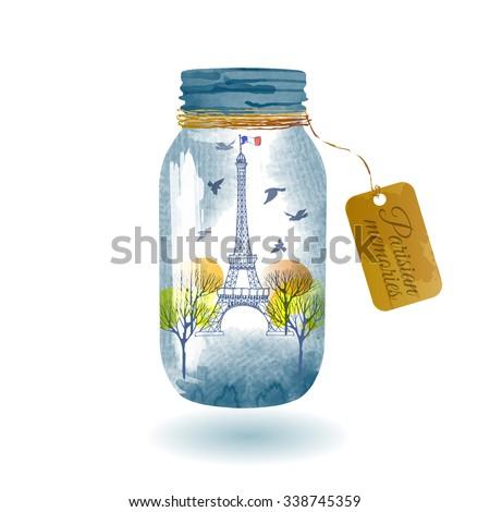 Watercolor Vector background of paris city in glass jar - stock vector