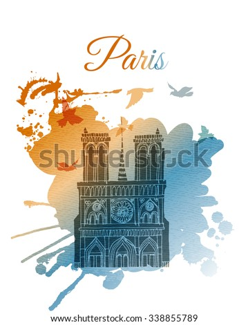 watercolor vector background of paris. notre dame - stock vector