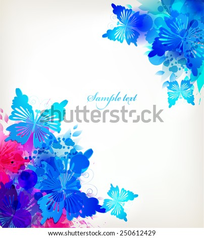 Watercolor vector background with colorful flower and butterflies.Fantasy frame. - stock vector