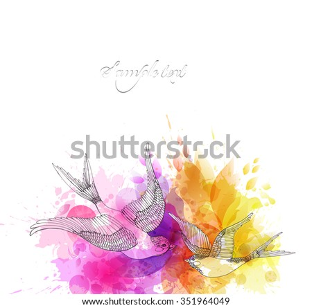 Watercolor vector background with colorful flowers and bird. Abstract floral elements . - stock vector