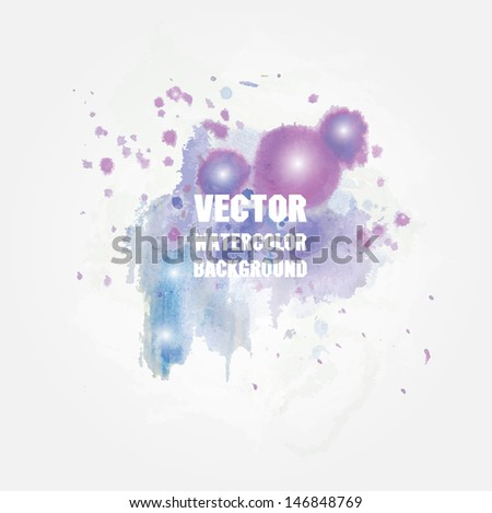 Watercolor vector background with place for your text. Pastel cold blue and violet colors.