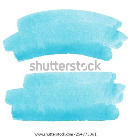 Watercolor vector brush strokes, sky-blue. A piece of heaven or water splash illustration.  - stock vector