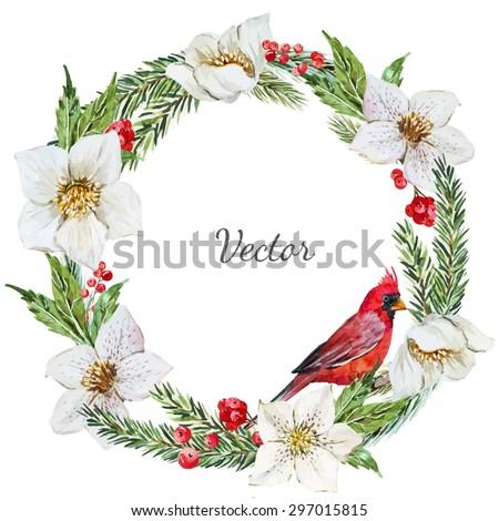 watercolor vector Christmas wreath, hellebore flower, tree, bird red cardinal - stock vector