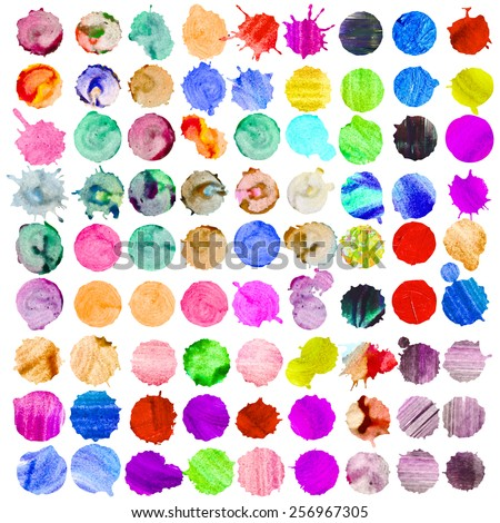 Watercolor vector circles set of 81. Colorful template for your design - stock vector