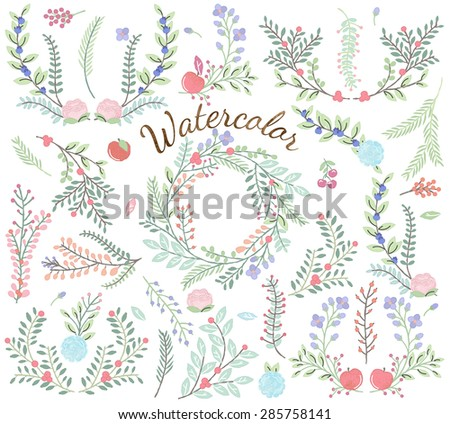 Watercolor Vector Collection of Florals - Great for Weddings and other celebrations - stock vector