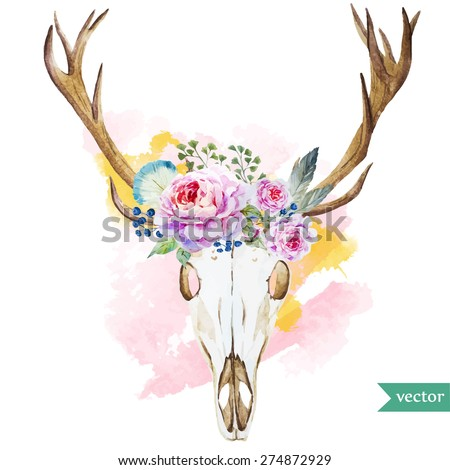 watercolor vector deer head with flowers roses and feathers - stock vector