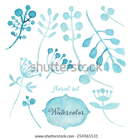 Watercolor vector floral set. Hand drawn. Spring or summer design for invitation, wedding or greeting cards - stock vector